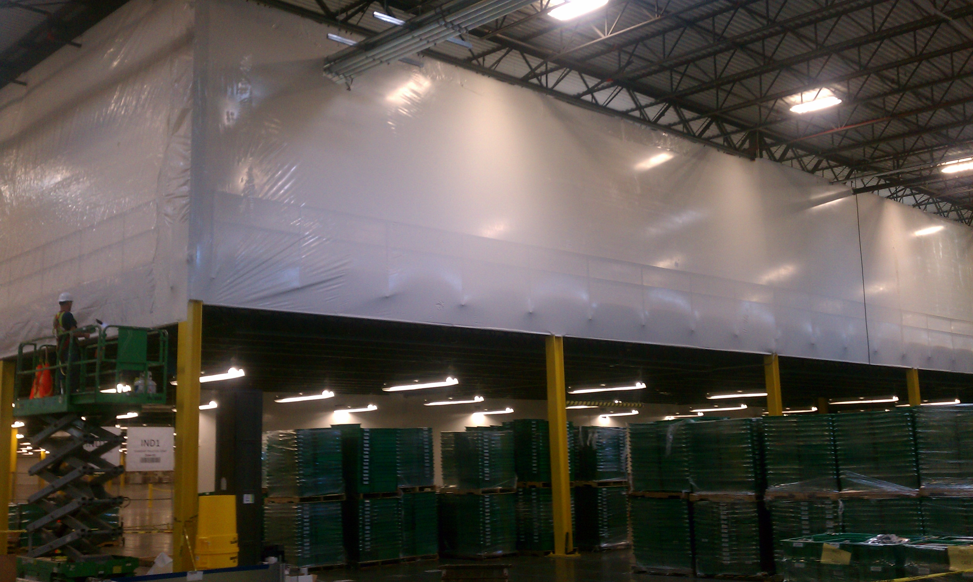 Construction shrink wrap images and shrink wrap containments for Construction interior dust control